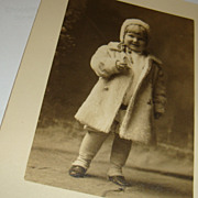 SALE Adorable Little Blond Child in White Fur Coat & Hat Real Photo Postcard
