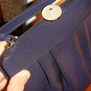 SALE New Old Stock Very Vintage Navy Blue File Pleated Handbag Mother of Pearl Clasp