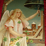 1910 German Embossed New Year's Postcard Angel Girl in Bell Tower Rings in New Year With Gold 