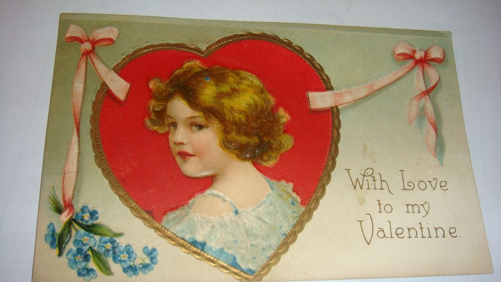 1910 Embossed Valentine Postcard Adorable Girl in Gold Gilt Framed Red Heart Int. Art Pub. Co. Germany/NY