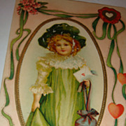 1912 Embossed Valentine's Day Postcard Adorable Little Girl in Green, Framed in Gold Gilt and