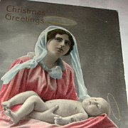 Thought Provoking Christmas Greetings Gel Real Photo Postcard Made in Saxony Mother & Baby
