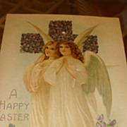 Beautiful Angels Embossed German Easter Postcard Cross Covered With Purple Violets Early 1900'