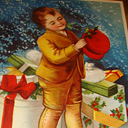SALE Beautiful Signed Ellen Clapsaddle Christmas Embossed Postcard Berlin, Young Boy with Hat