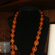 SALE Long & Gorgeous Faux Amber Graduated Large Beads Necklace