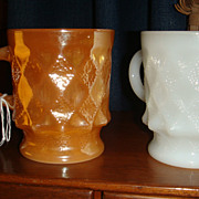 2 Fire King Anchor Hocking Kimberly Dot & Diamond Mugs White & Peach Lustre
