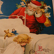 SALE German Embossed Ellen Clapsaddle Signed Christmas Postcard Santa Listens in While Child P