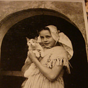 Beautiful Little Girl & Her Cat European Real Picture Photo Postcard