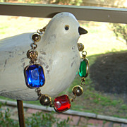 Colorful Lucite and Goldtone Beads Bracelet