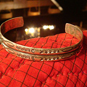 Sterling Silver Tribal Native American Cuff Bracelet Simple Mirrored Design