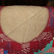 Huge Round Crochet & Wheat Linen Table Covering Large Doily Tatting KY Estate