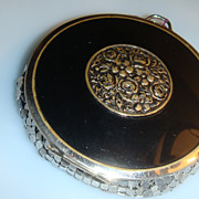 Art Deco EVANS Black Enamel and Silvertone Mesh Compact Repousse Raised Flowers