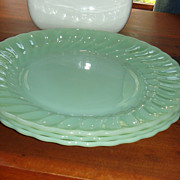 Set of 3 Anchor Hocking Fire King Jadite Shell Dinner Plates *See Pictures*