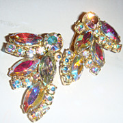 Large & Gorgeous Aurora Borealis Crystal Earrings Marquise, Square & Round Brilliant Cut Stone