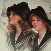 "Artist Signed Philip Boileau ""Snowbirds"" Postcard Twin Sisters Early 1900's"