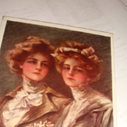 Artist Signed &quot;The Twins&quot; Lovely Young Ladies Philip Boileau Early 1900's