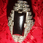 Gorgeous Art Deco Sterling Silver Elongated Onyx Many Marcasites Ring