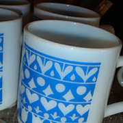 Colorful Bright Blue & White Opaque Pedestal Mug(s) Hearts, Diamonds, Circles & Tulips