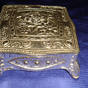 Very Ornately Decorated Vintage Silver Metal Miniature Jewelry Casket Great for Dollhouse,  JA