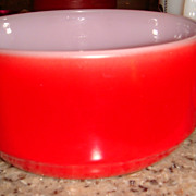 Excellent Fired On Vivid Red Anchor Hocking Fire King Handled Soup Bowl