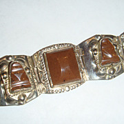 Mexico Sterling Silver Native American or Ethnic Bracelet Beautiful Chocolate Brown Stones, Ma