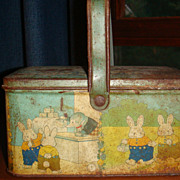 TINDECO Peter Rabbit Basket For Kiddies Well Worn Primitive Collectible Tin