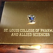 SALE Goldtone & Blue Enamel Compact St. Louis College of Pharmacy & Applied Sciences