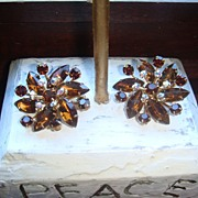 REDUCED Flashy Amber or Cognac Colored Topaz & Aurora Borealis Vintage Earrings