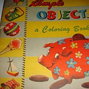 SALE 1949 Coloring Book Simple Objects Samuel Lowe Company