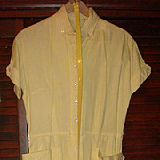 SALE Abby Kent New York Yellow/White Stripe Shirtwaist Dress Patent/Lucite Belt