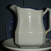 SALE Small Size J & G Meakin Ironstone Block Optic Pitcher