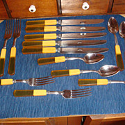 SALE 5 Complete Place Settings  Robinson Knife Co. BAKELITE & LUCITE Flatware!
