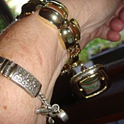 Great Old Chunky Lisner Goldtone Bracelet With Large Pendant