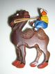 Carved Wood Camel & Rider Pin