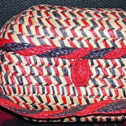 Patriotic Woven Straw Purse