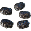 Five Deep Carved Thick Black Bakelite Buttons
