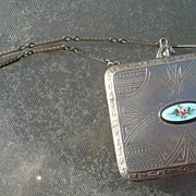 Guilloche and Nickel Silver Dance Compact with Chain