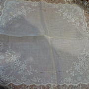 Vintage Lace Embroidered Whitework Bridal Hanky