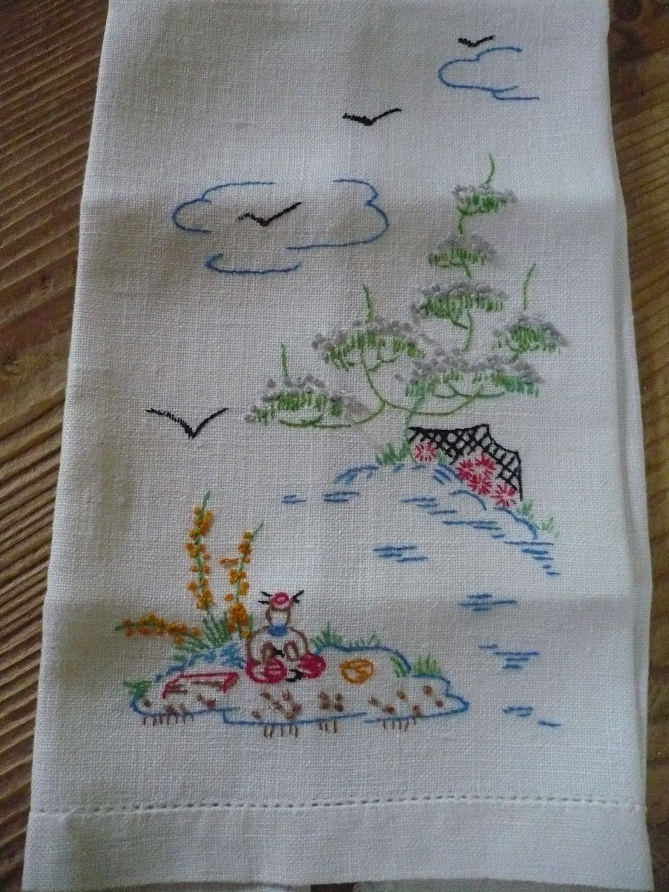 Hand Embroidered Picnic Scene Towel