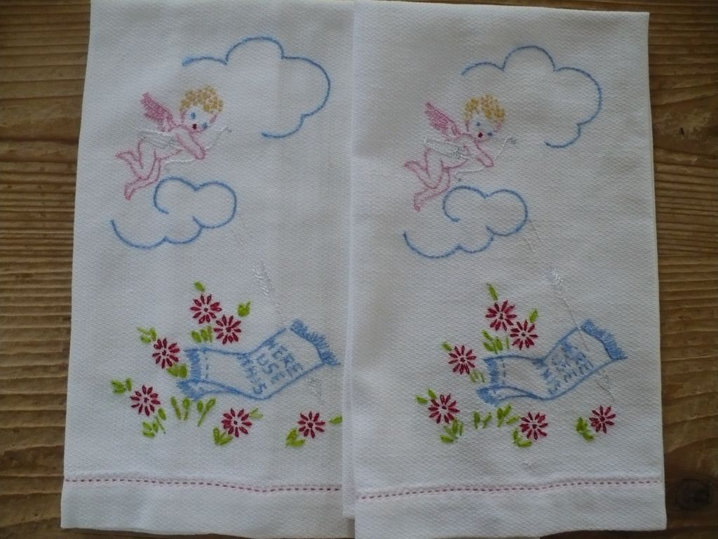 Cupid Embroidered Guest Towels