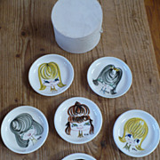 Set of 6 Girl Face Porcelain Dishes