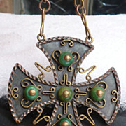 SALE Maya Mexico Copper Pendant on Chain
