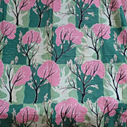 Vintage Pink Green Tree Fabric