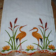 Hand Embroiderd Whooping Crane Towel