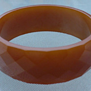 Bakelite Facet Light Olive Bracelet