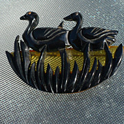 Bakelite Swimming Ducks Pin