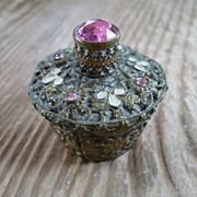Cased Jeweled Czech Perfume Bottle