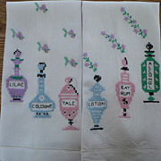Vintage Hand Embroidered Toiletries Towels