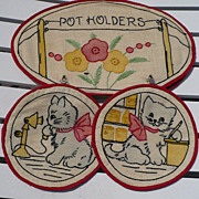 Hand Embroidered Cat Pot Holder Set