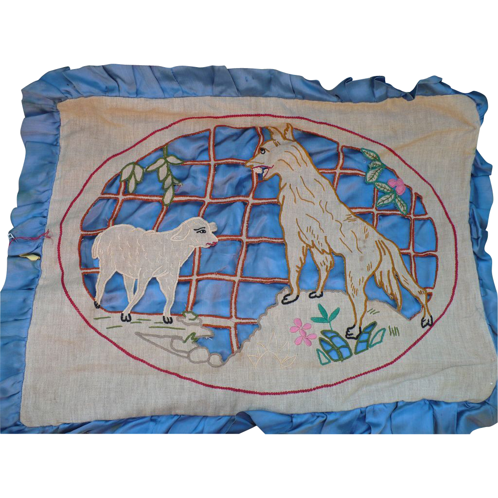 Cutwork wolf lamb embroidery from looluus on ruby lane for Glass cut work designs